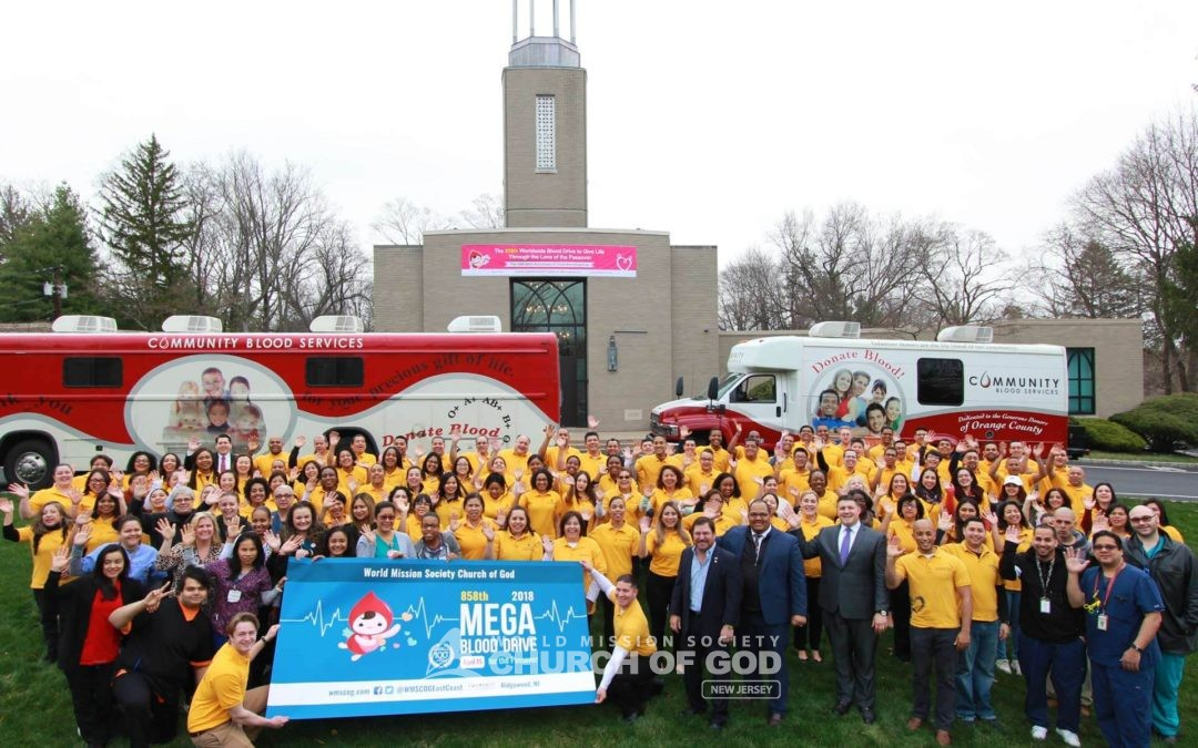 wmscog, world mission society church of god, NJ, New Jersey, Ridgewood, Manny Grova, Mayor Richard Goldberg, blood drive, volunteerism, mega, Passover